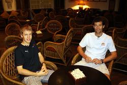 Sebastian Vettel and Mark Webber in the Raffles Hotel