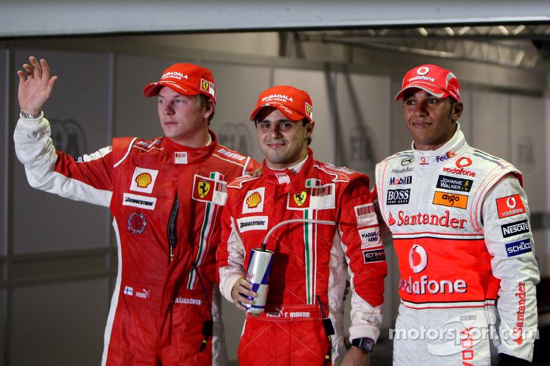Polesitter Felipe Massa; 2. Lewis Hamilton; 3. Kimi Räikkönen