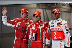 Pole winner Felipe Massa with second place Lewis Hamilton and third place Kimi Raikkonen