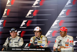 Post-race press conference: race winner Fernando Alonso, second place Nico Rosberg, third place Lewis Hamilton