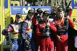 Podium: winners Sébastien Loeb and Daniel Elena, second place Daniel Sordo and Marc Marti, third place Mikko Hirvonen and Jarmo Lehtinen