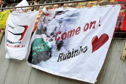 A banner for Rubens Barrichello, Honda Racing F1 Team