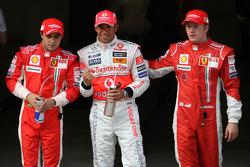 Pole winner Lewis Hamilton, second place Kimi Raikkonen, third place Felipe Massa