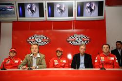 Press conference: Kimi Raikkonen, Luca di Montezemolo, Felipe Massa,Stefano Domenicali and Piero Ferrari