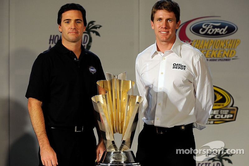Jimmie Johnson and Carl Edwards pose with the NASCAR Sprint Cup Series trophy during the 2008 Championship Contenders