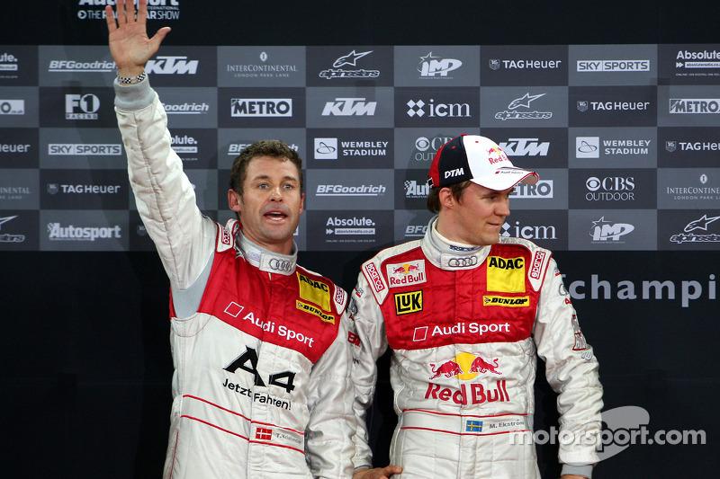 Podium: second place Mattias Ekström and Tom Kristensen (Team Scandinavia)
