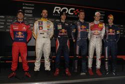 Red Bull drivers Sébastien Loeb, Yvan Muller, Jaime Alguersuari, David Coulthard, Mattias Ekström and Sebastian Vettel pose for a photo