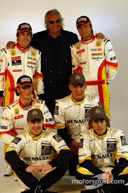Fernando Alonso; Flavio Briatore; Nelson A. Piquet; Charles Pic; Marco Sorensen; und Davide Valsecchi, Renault
