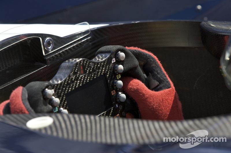 Steering wheel detail of the #66 de Ferran Motorsports Acura ARX 02a Acura