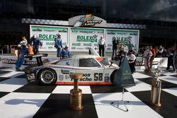 DP victory lane: David Donohue enters victory lane in the winning car