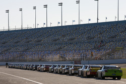 Cars wait to go on track to start practice