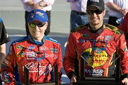 Pole victory lane: pole winner Martin Truex Jr., Earnhardt Ganassi Racing Chevrolet, with second fastest qualifier Mark Martin, Hendrick Motorsports Chevrolet