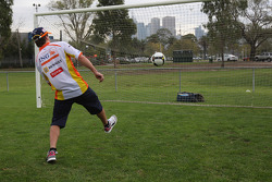 Fernando Alonso, Renault F1 Team with playing football
