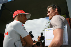 Lewis Hamilton, McLaren Mercedes and David Coulthard Red Bull Racing Advisor, BBC Television Pundit