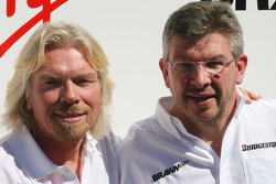 Sir Richard Branson CEO of the Virgin Group makes and announcement regarding the Virgin sponsorship deal with Brawn GP, Sir Richard Branson, Virgin Group CEO and Ross Brawn Team Principal, Brawn GP