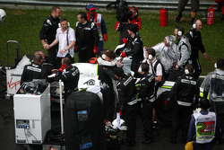 Jenson Button, Brawn GP, celebrates winning on the reformed grid, after te race is red flag due to rain