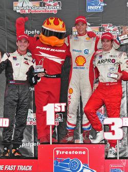 Podium: race winner Junior Strous, second place Jonathan Summerton, third place J.R. Hildebrand