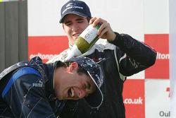 Podium: race winner Daniel Ricciardo celebrates with Walter Grubmuller