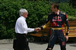 Bernie Ecclestone with Sébastien Bourdais, Scuderia Toro Rosso