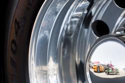 Reflection in a truck wheel