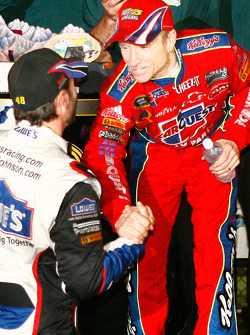 Victory lane: race winner Mark Martin, Hendrick Motorsports Chevrolet, is congratulated by Jimmie Johnson, Hendrick Motorsports Chevrolet