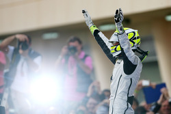 Race winner Jenson Button, Brawn GP celebrates