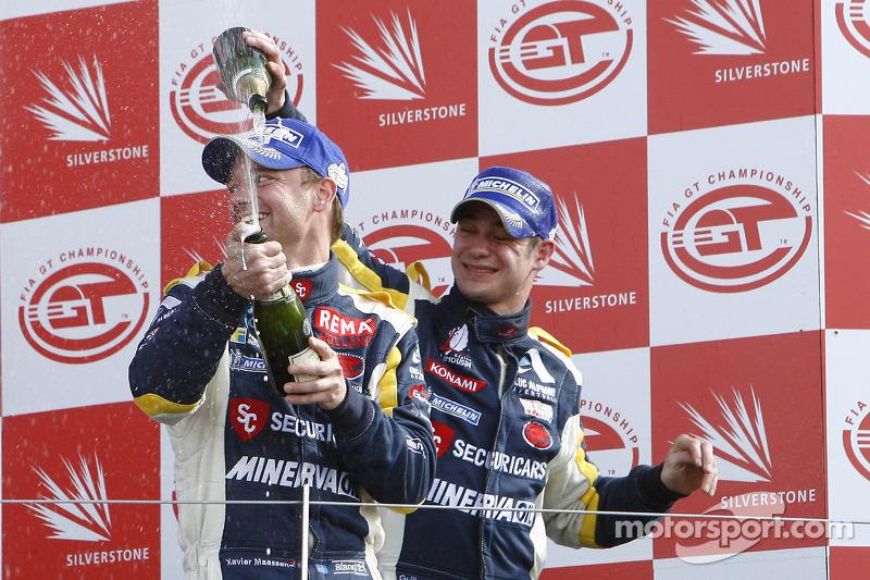 GT1 podium: third place Xavier Maassen and Guillaume Moreau