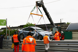 The Safety car is cleared after it crashed in to Franz Engstler, Liqui Moly Team Engstler, BMW 320si