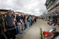 Fans in front of the Audi Sport pit area