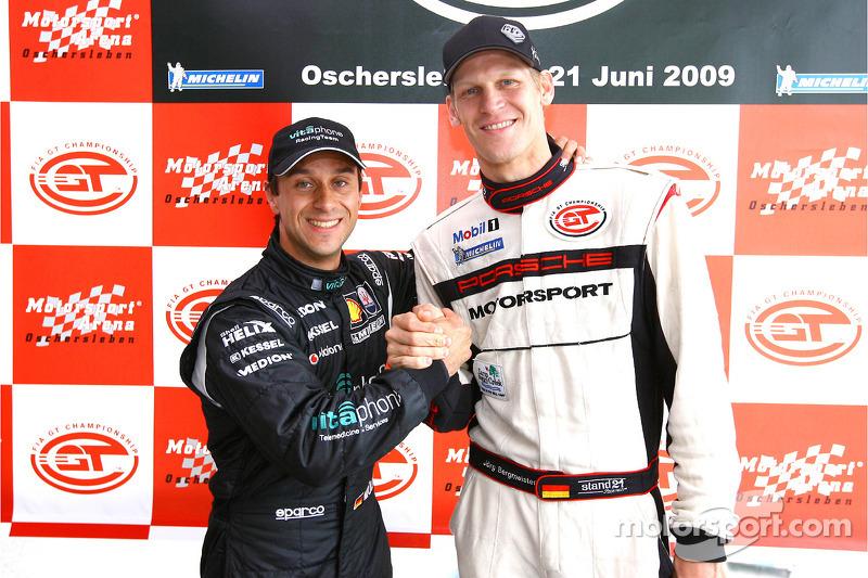 GT1 pole winner Alex Müller and GT2 pole winner Jorg Bergmeister