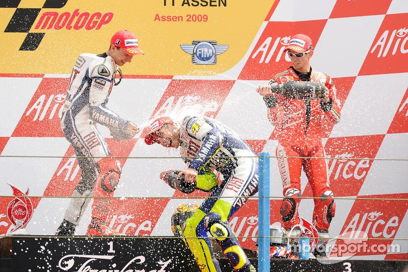 2009: 1. Valentino Rossi, 2. Jorge Lorenzo, 3. Casey Stoner