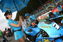 A lovely Rizla Suzuki MotoGP girl with Chris Vermeulen, Rizla Suzuki MotoGP