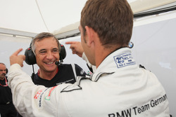Charly Lamm, Team Manager, BMW Team Germany / Schnitzer Motorsport and Jorg Muller,  BMW Team Germany, BMW 320si are joking around