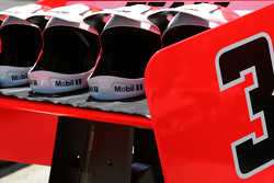 Helmets on the car of Helio Castroneves, Team Penske