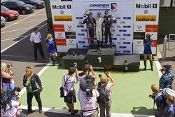 Podium celebrations: race winner Renger van der Zande, second place Daniel Ricciardo, third place Henry Arundel