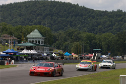 #62 Risi Competizione Ferrari F430 GT: Jaime Melo, Pierre Kaffer leads #45 Flying Lizard Motorsports Porsche 911 GT3 RSR: Jorg Bergmeister, Patrick Long and #90 BMW Rahal Letterman Racing Team BMW E92 M3: Bill Auberlen, Joey Hand
