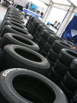 Tyres stacked up and ready