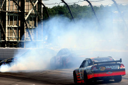 Martin Truex Jr., Earnhardt Ganassi Racing Chevrolet avoids the crash of David Stremme, Penske Racing Dodge and Robby Gordon, Robby Gordon Motorsports Toyota