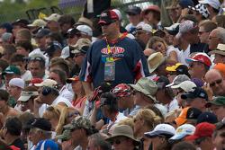 Fans watch pre-race ceremony