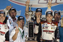 Victorye lane: race winner David Ragan celebrates