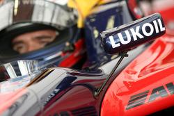 Lukoil branding on the car of Mikhail Aleshin