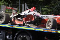 Crashed car of Jules Bianchi, ART Grand Prix Dallara F308 Mercedes