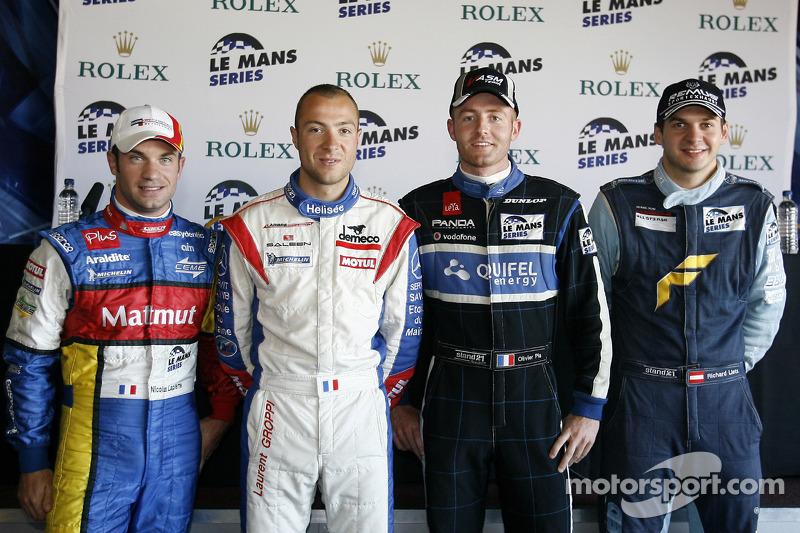 LMP1 and overall pole winner Nicolas Lapierre, LMGT1 pole winner Laurent Groppi, LMP2 pole winner Olivier Pla, LMGT2 pole winner Richard Lietz