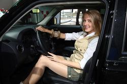 Girl on the car display
