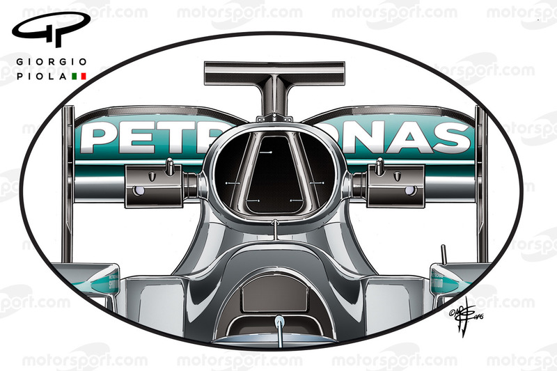 Mercedes W07, l'airbox