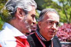 Sergio Marchionne, Presidente Ferrari e CEO di Fiat Chrysler Automobiles e Maurizio Arrivabene, Ferrari Team Principal alla conferenza stampa
