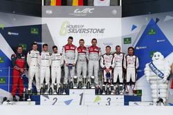 The podium (L to R):  Marc Lieb, Romain Dumas, Neel Jani, #02 Porsche Team Porsche 919 Hybrid, second; Andre Lotterer, Marcel Fassler, Benoit Treluyer, #07 Audi Sport Team Joest Audi R18, race winners; Mike Conway, Stephane Sarrazin, Kamui Kobayashi, #06 T