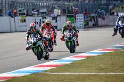 Jonathan Rea, Kawasaki Racing Team, Chaz Davies, Aruba.it Racing - Ducati Team y Tom Sykes, Kawasaki Racing Team