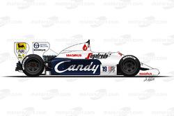 De Toleman TG184 van Ayrton Senna