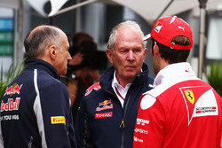 Franz Tost, Scuderia Toro Rosso Team Principal with Dr Helmut Marko, Red Bull Motorsport Consultant and Jean-Eric Vergne, Ferrari Test and Development Driver